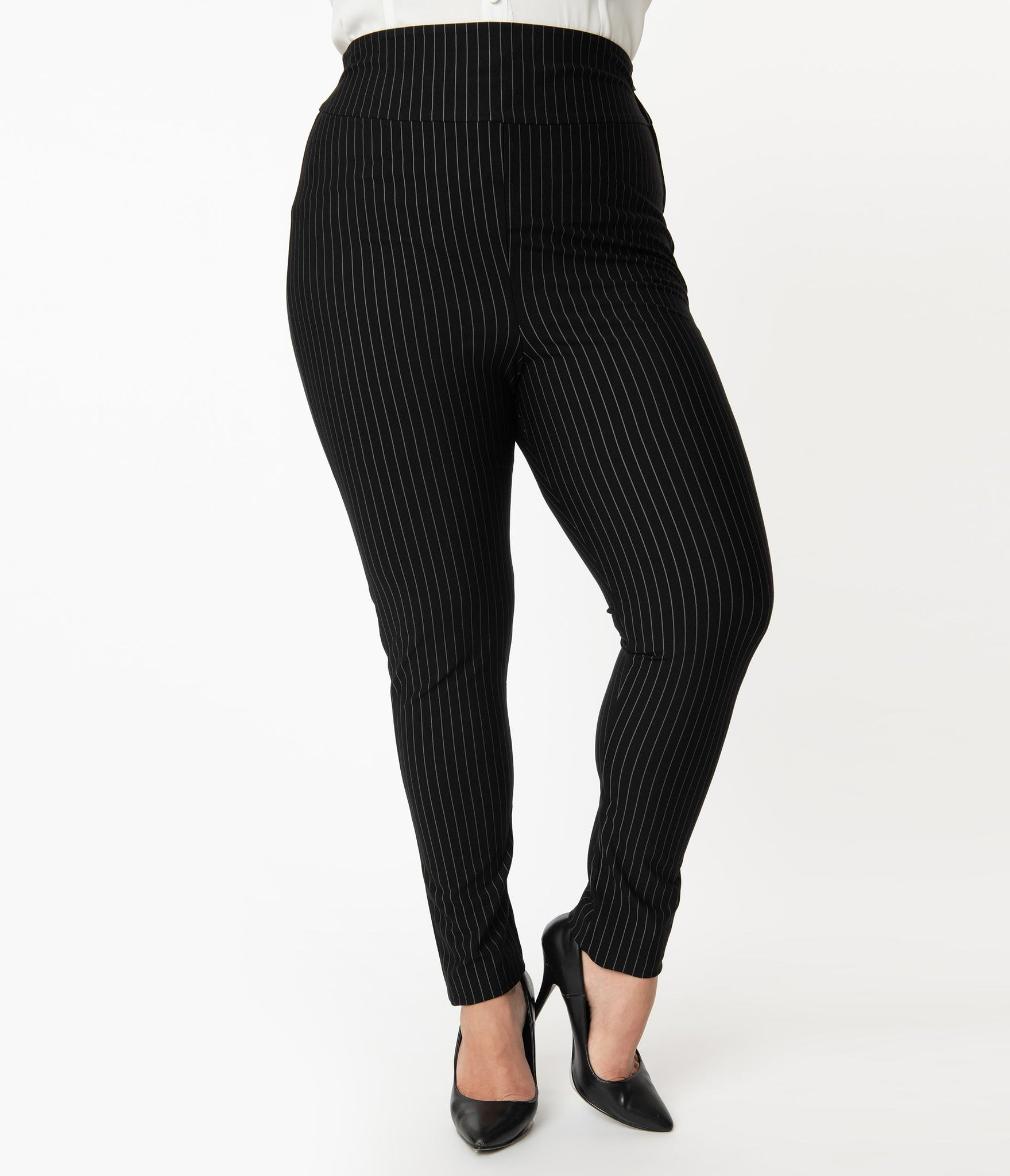 Unique Vintage Plus Size Black & White Pinstripe Rizzo Cigarette Pants