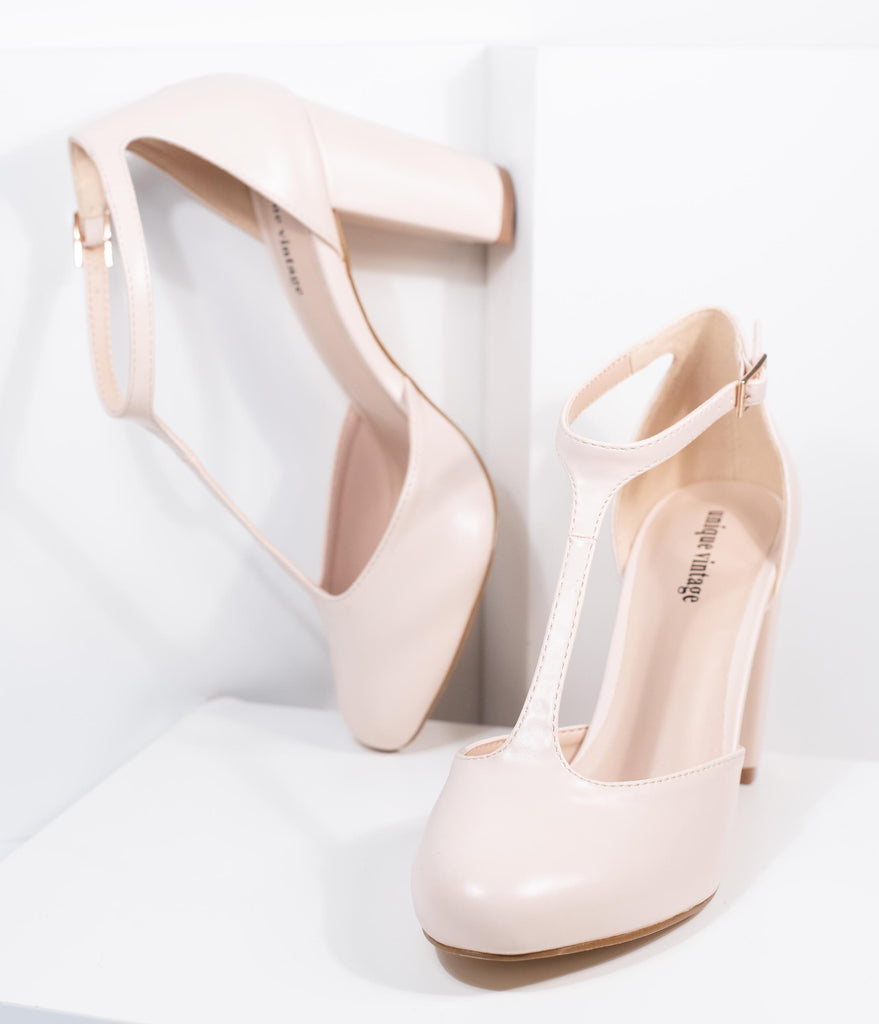 Unique Vintage Beige Leatherette T-Strap Astaire Pumps