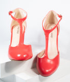 Unique Vintage Red Leatherette T-Strap Astaire Pumps