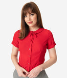 Retro Style Red Ingrid Crop Blouse
