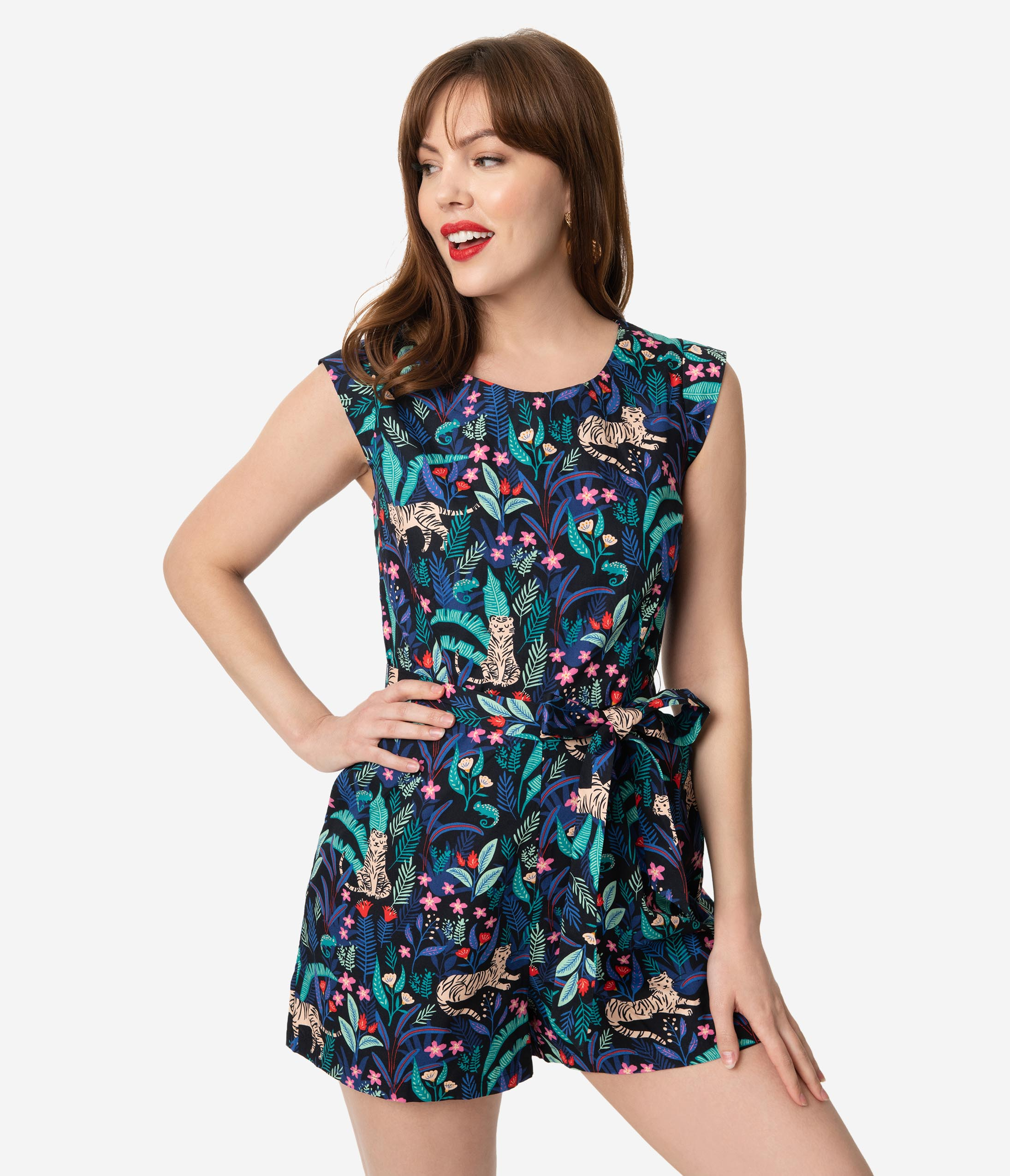 What Did Women Wear in the 1950s? 1950s Fashion Guide Retro Style Navy Tropical Tiger  Chameleon Print Playsuit $78.00 AT vintagedancer.com