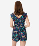 Retro Style Navy Tropical Tiger & Chameleon Print Playsuit