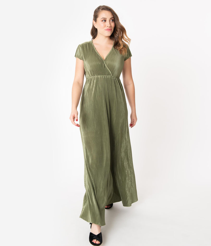 Vintage Style Moss Green Metallic Ribbed Maxi Dress