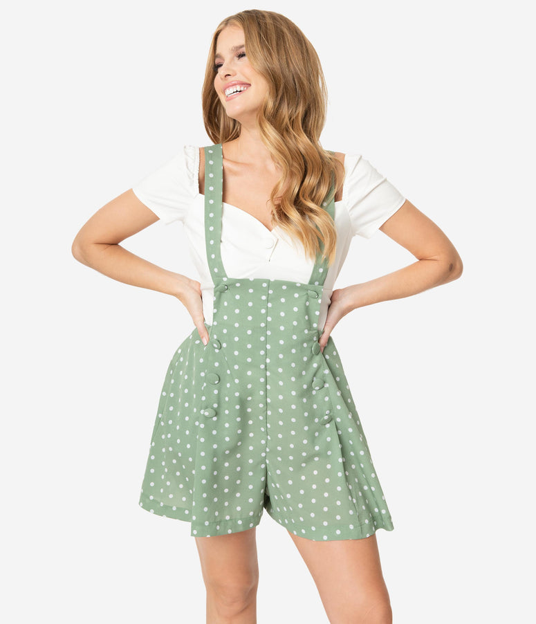 Unique Vintage Light Green & Ivory Polka Dots Geena Pinafore Shorts