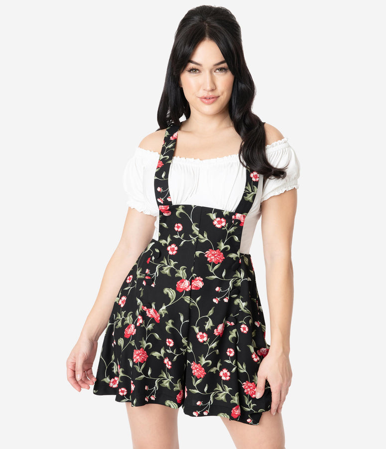 Unique Vintage 1970s Black & Red Floral Geena Pinafore Shorts