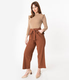 Brown Paper Bag Waist Crop Pants