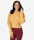 Vintage Style Mustard Swiss Dotted Crop Sweater