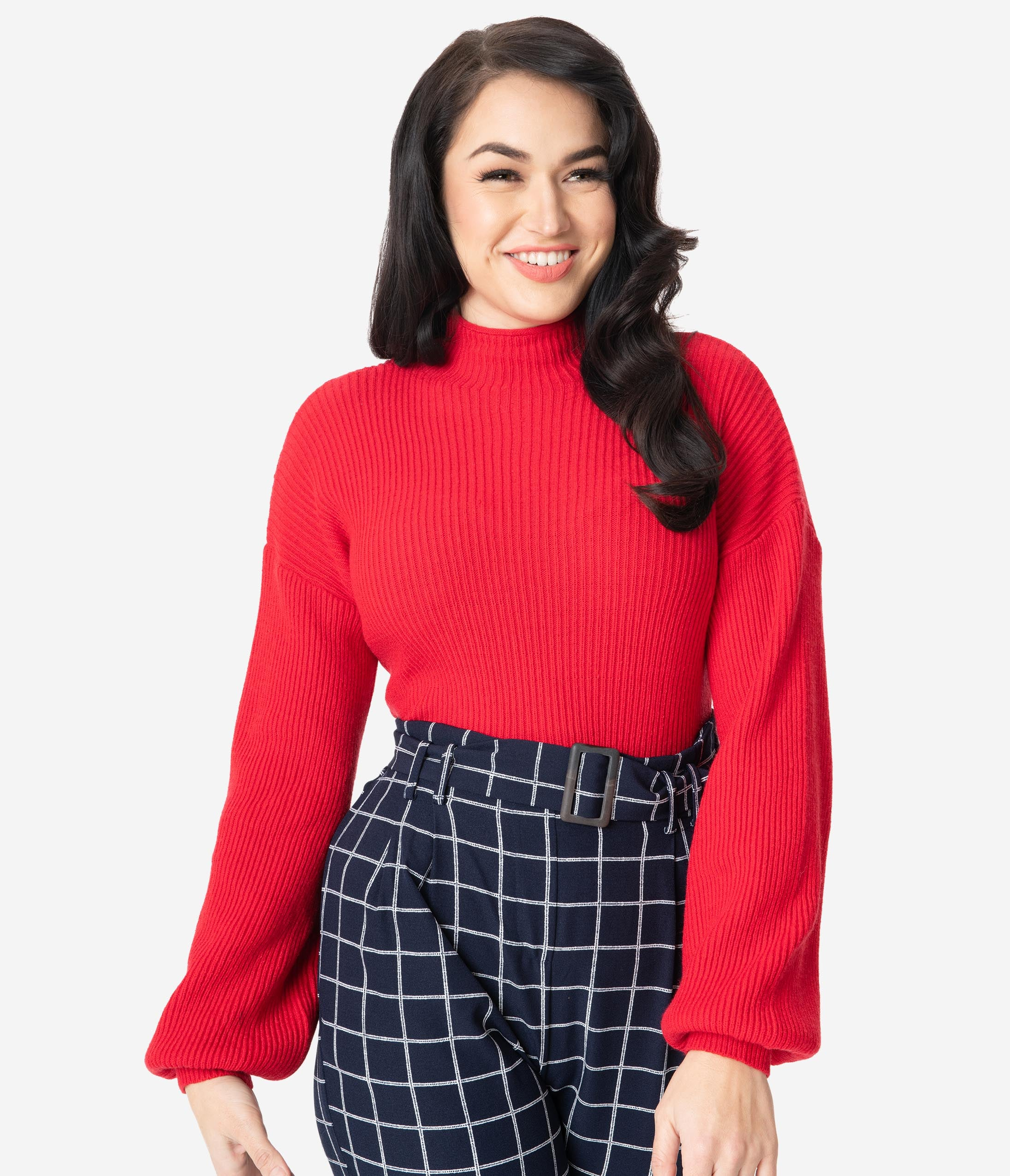 1940s Sweater Styles Retro Style Red Ribbed Long Sleeve Sweater $48.00 AT vintagedancer.com