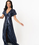 Sapphire Blue Sequin Wrap Maxi Dress