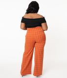 Unique Vintage Plus Size 1940s Orange Windowpane High Waist Ginger Pants