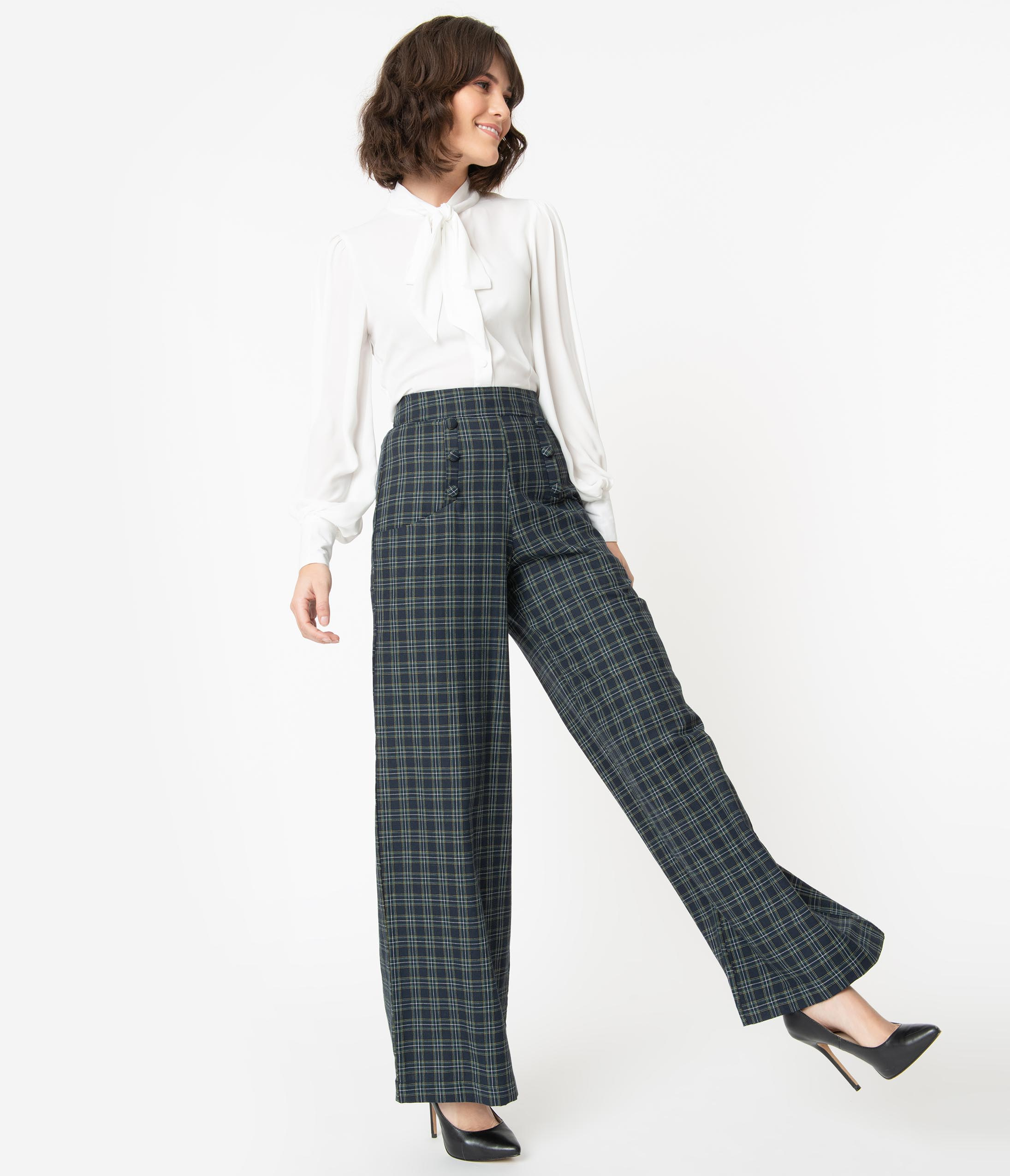 1950s Pants History for Women Unique Vintage 1940S Navy  Green Plaid High Waist Ginger Pants $68.00 AT vintagedancer.com