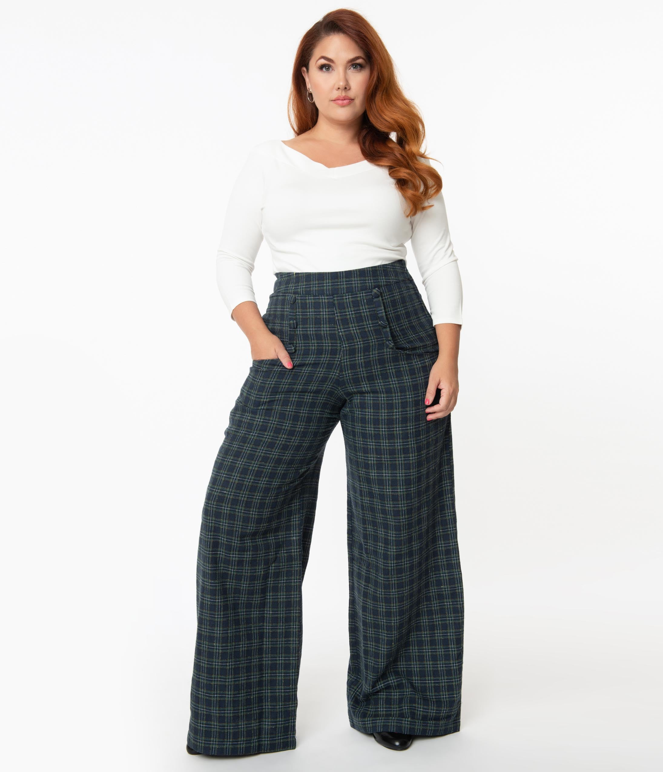1940s Swing Pants & Sailor Trousers- Wide Leg, High Waist Unique Vintage Plus Size 1940S Navy  Green Plaid High Waist Ginger Pants $68.00 AT vintagedancer.com