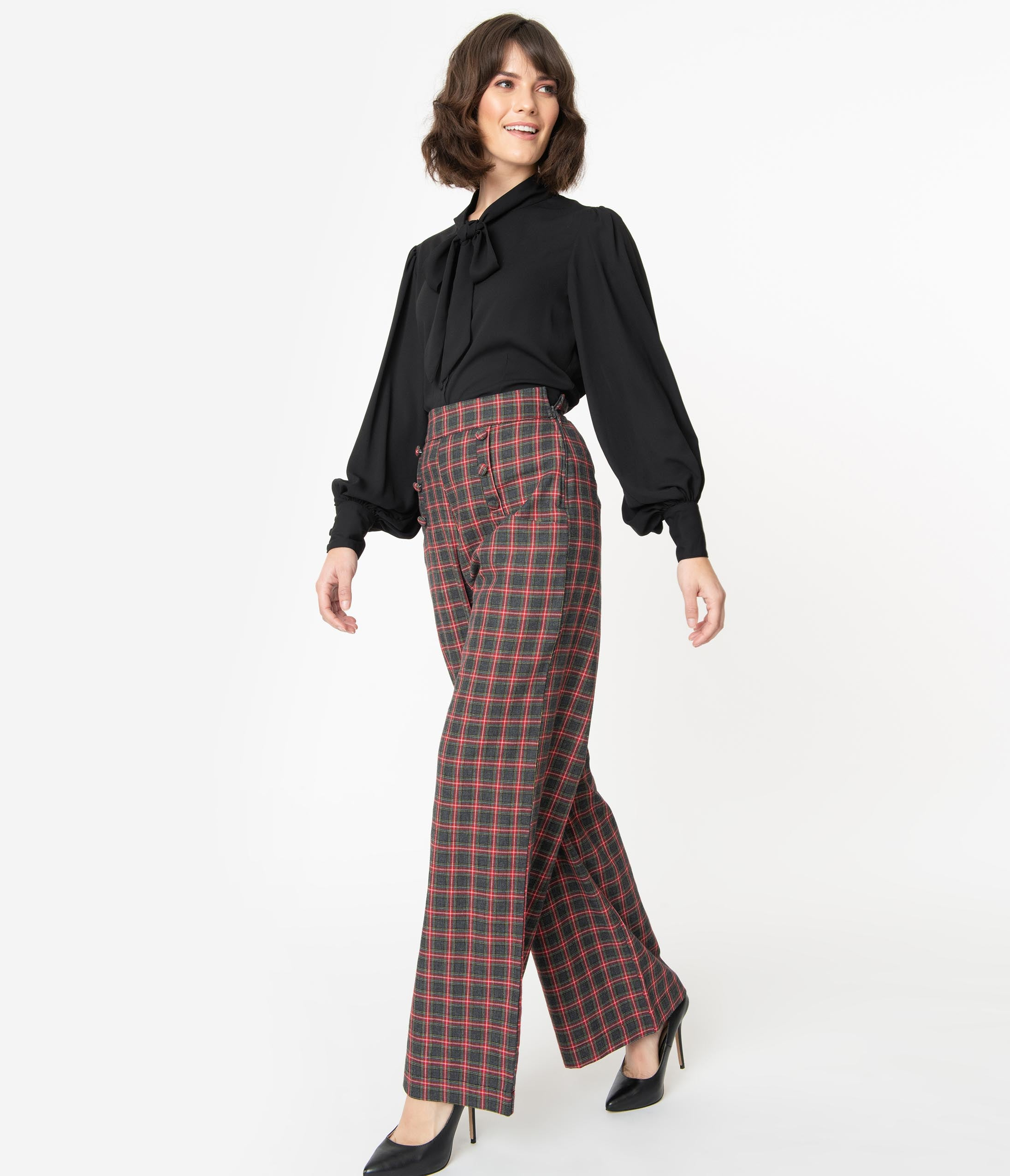 1950s Pants History for Women Unique Vintage 1940S Grey  Red Plaid High Waist Ginger Pants $68.00 AT vintagedancer.com