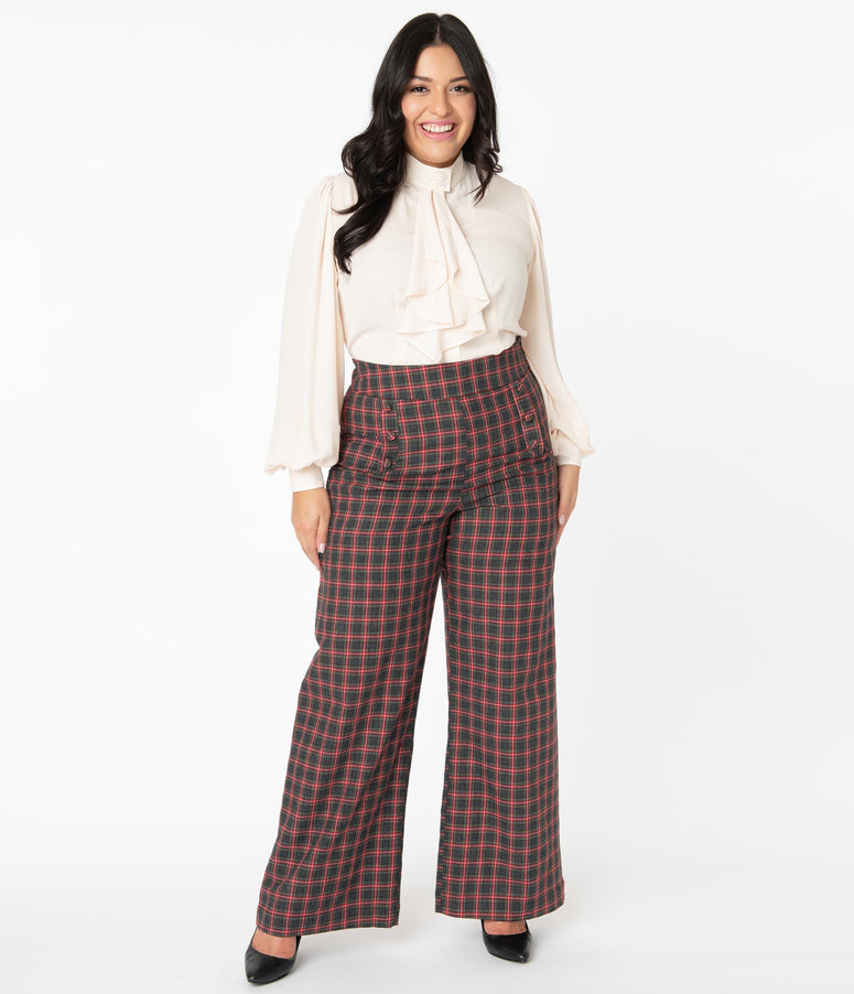 Unique Vintage Plus Size 1940s Grey & Red Plaid Ginger Pants
