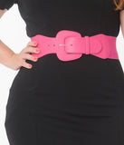 Retro Style Fuchsia Leatherette Elastic Cinch Belt