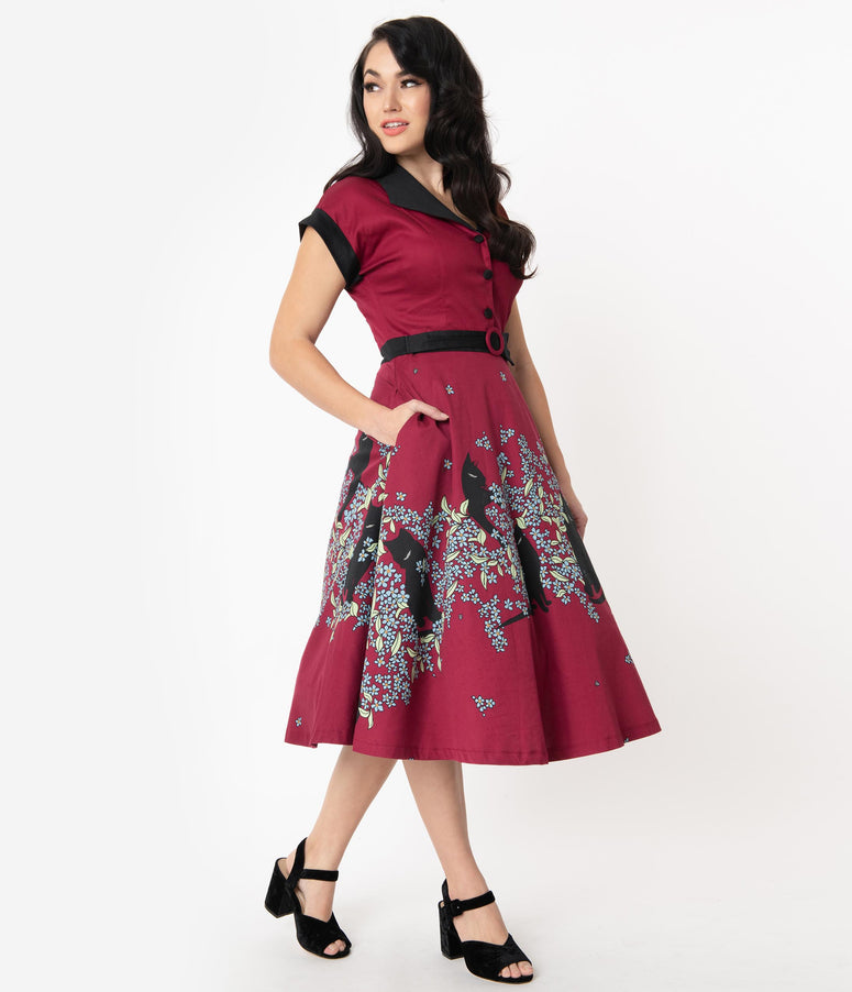 1950s Style Wine & Black Cat Floral Bloom Print Swing Dress