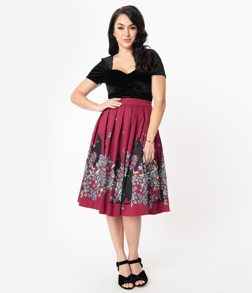 1950s Style Wine & Black Cat Floral Bloom Swing Skirt