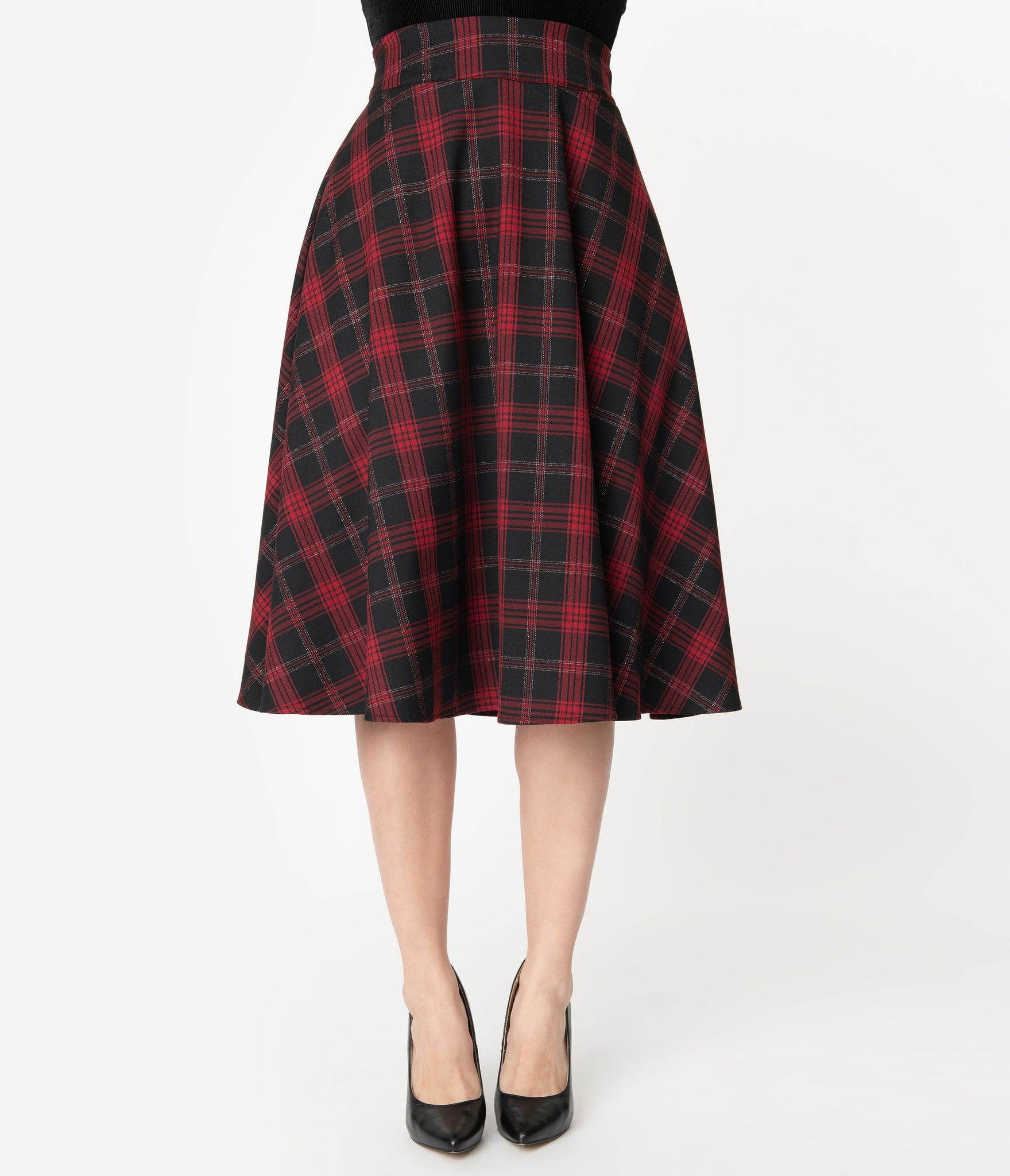 Unique Vintage Retro Sparkle Black & Red Plaid Vivien Swing Skirt