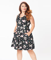Tall Plus Size A-line V-neck Pocketed Fitted Piping Back Zipper Vintage Belted Banding Natural Waistline Above the Knee Floral Print Knit Dress