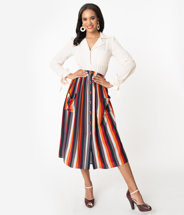 Bright & Beautiful Penny Striped Midi Skirt
