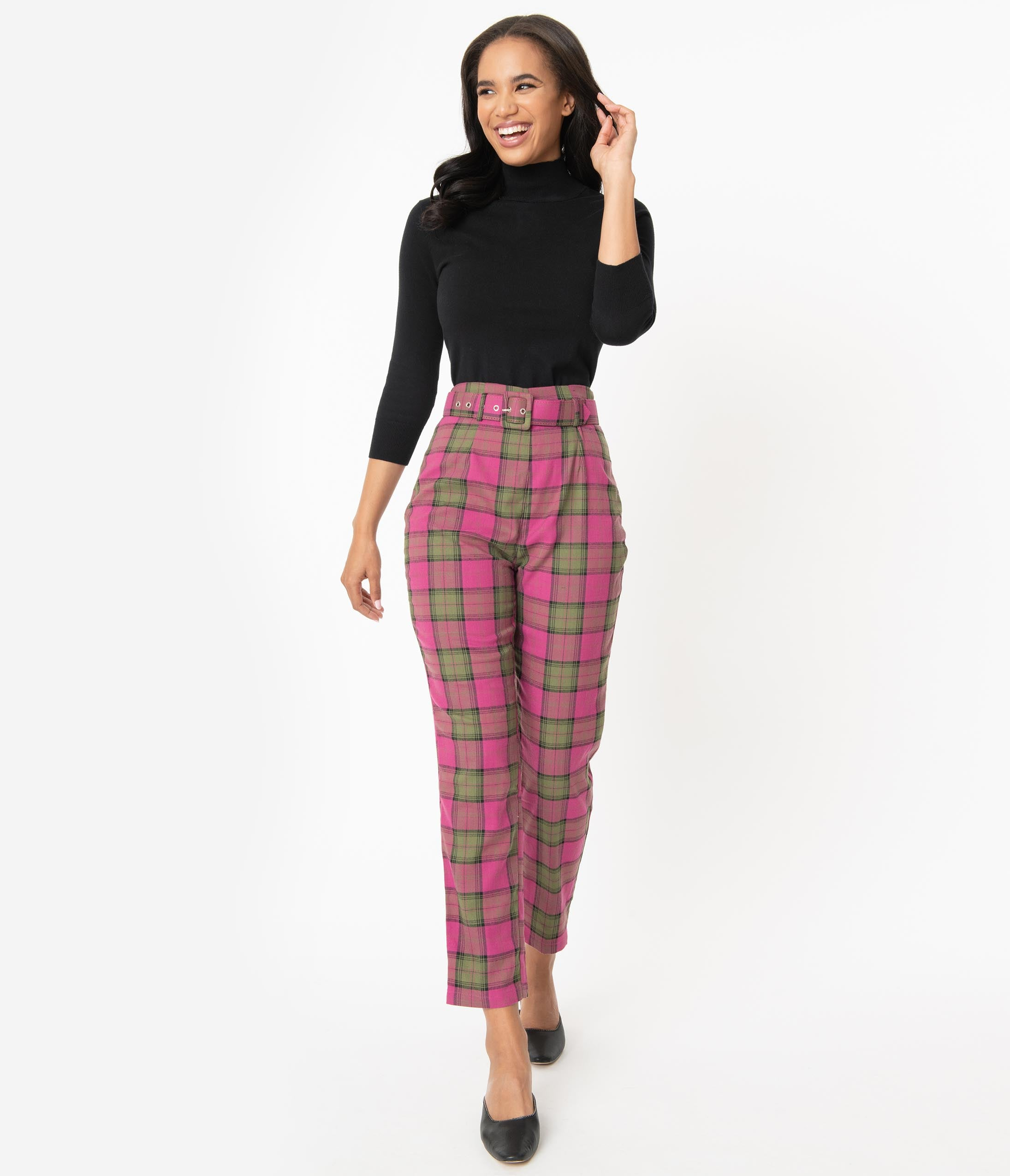 70s Outfits – 70s Style Ideas for Women Collectif Fuchsia Pink  Olive Sassy Plaid Thea Pants $68.00 AT vintagedancer.com