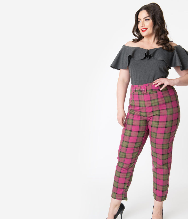 Collectif Plus Size Fuchsia Pink & Olive Sassy Plaid Thea Pants