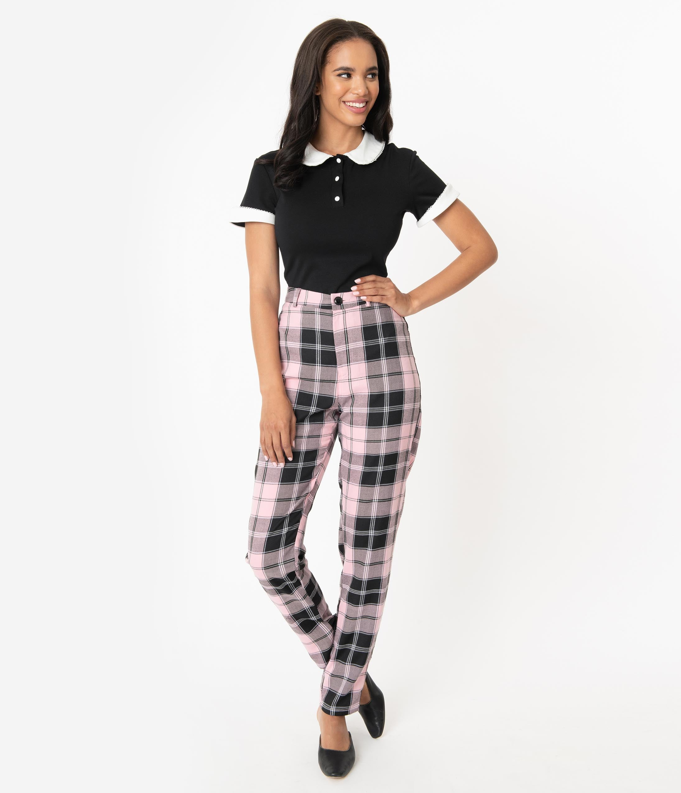 1950s Pants History for Women Collectif 1950S Pink  Black Candy Plaid Maddy Pants $68.00 AT vintagedancer.com