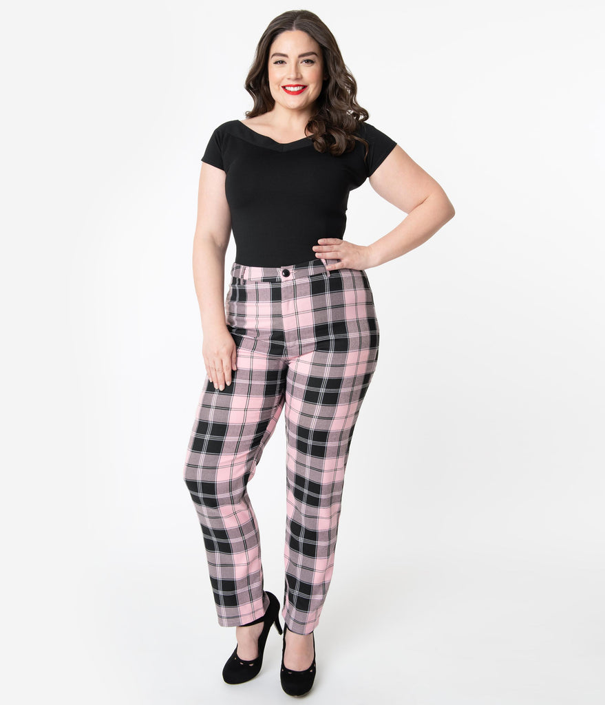 Collectif Plus Size 1950s Pink & Black Candy Plaid Maddy Pants