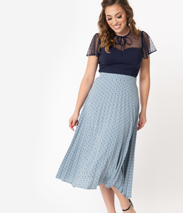 1940s Style Light Blue & Navy Polka Dot Pleated Skirt