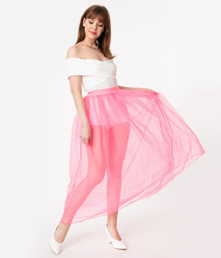 Hot Pink Swiss Dot Fairy Tale Tulle Long Skirt