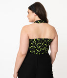 Unique Vintage Plus Size Black & Neon Green Bats Rita Halter Top