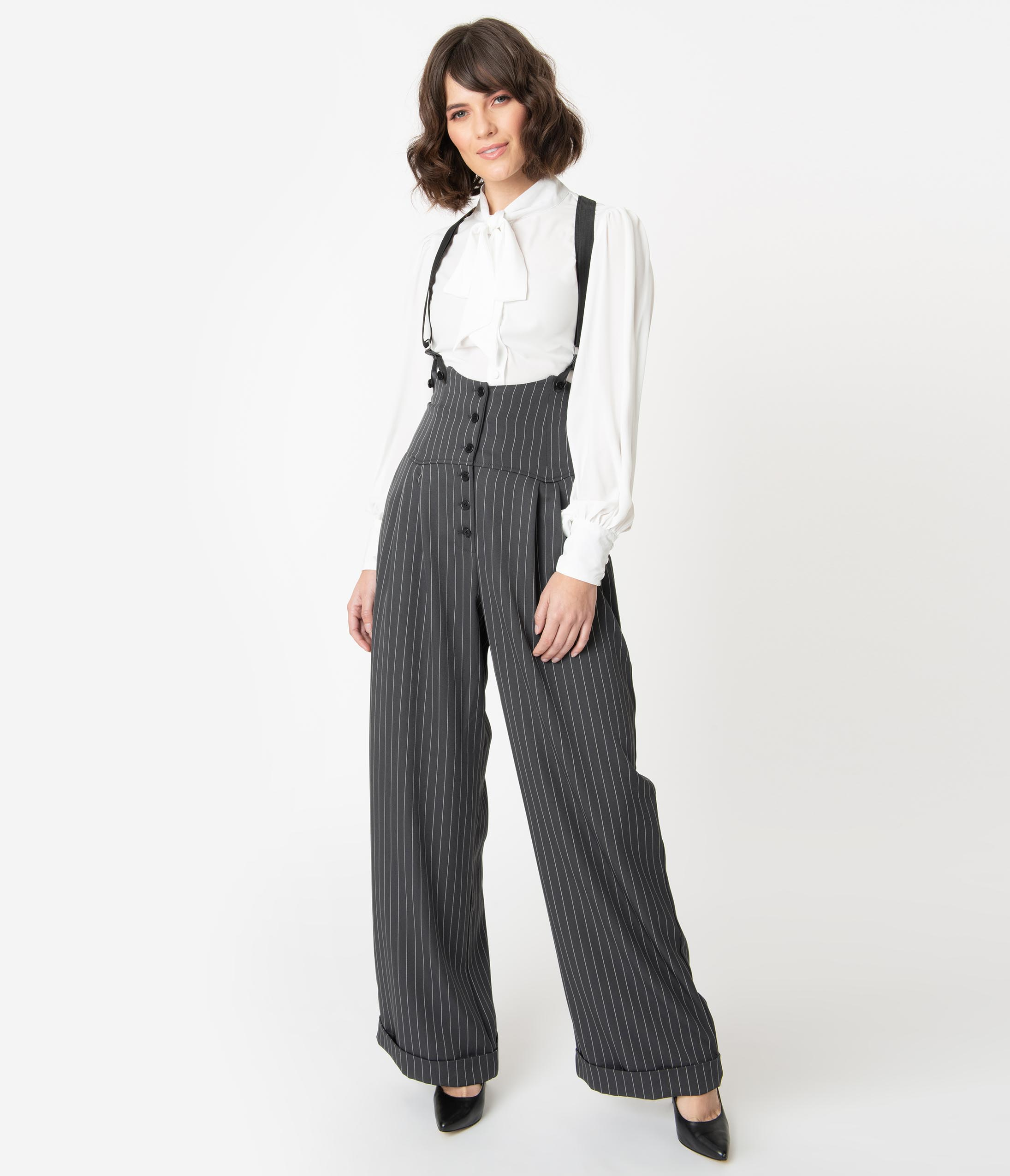 Vintage Overalls 1910s -1950s History & Shop Overalls Unique Vintage 1930S Charcoal Grey Pinstripe Thelma Suspender Pants $78.00 AT vintagedancer.com