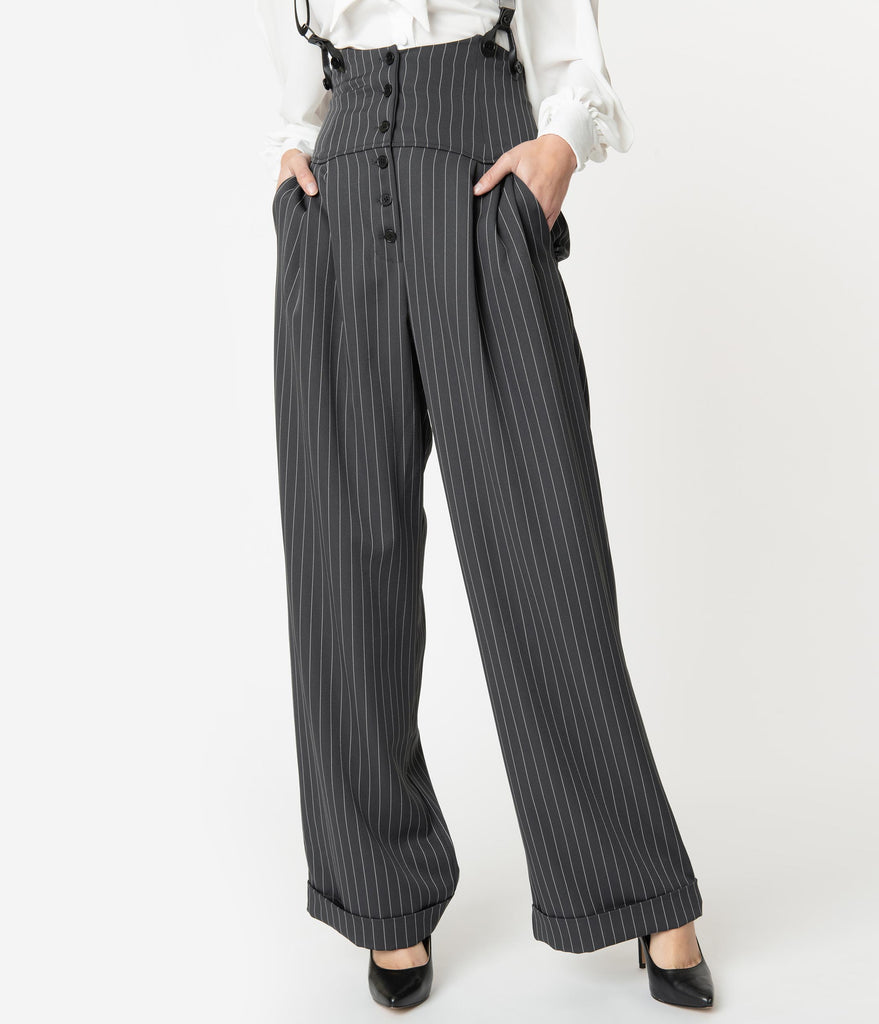 Unique Vintage 1930s Charcoal Grey Pinstripe Thelma Suspender Pants