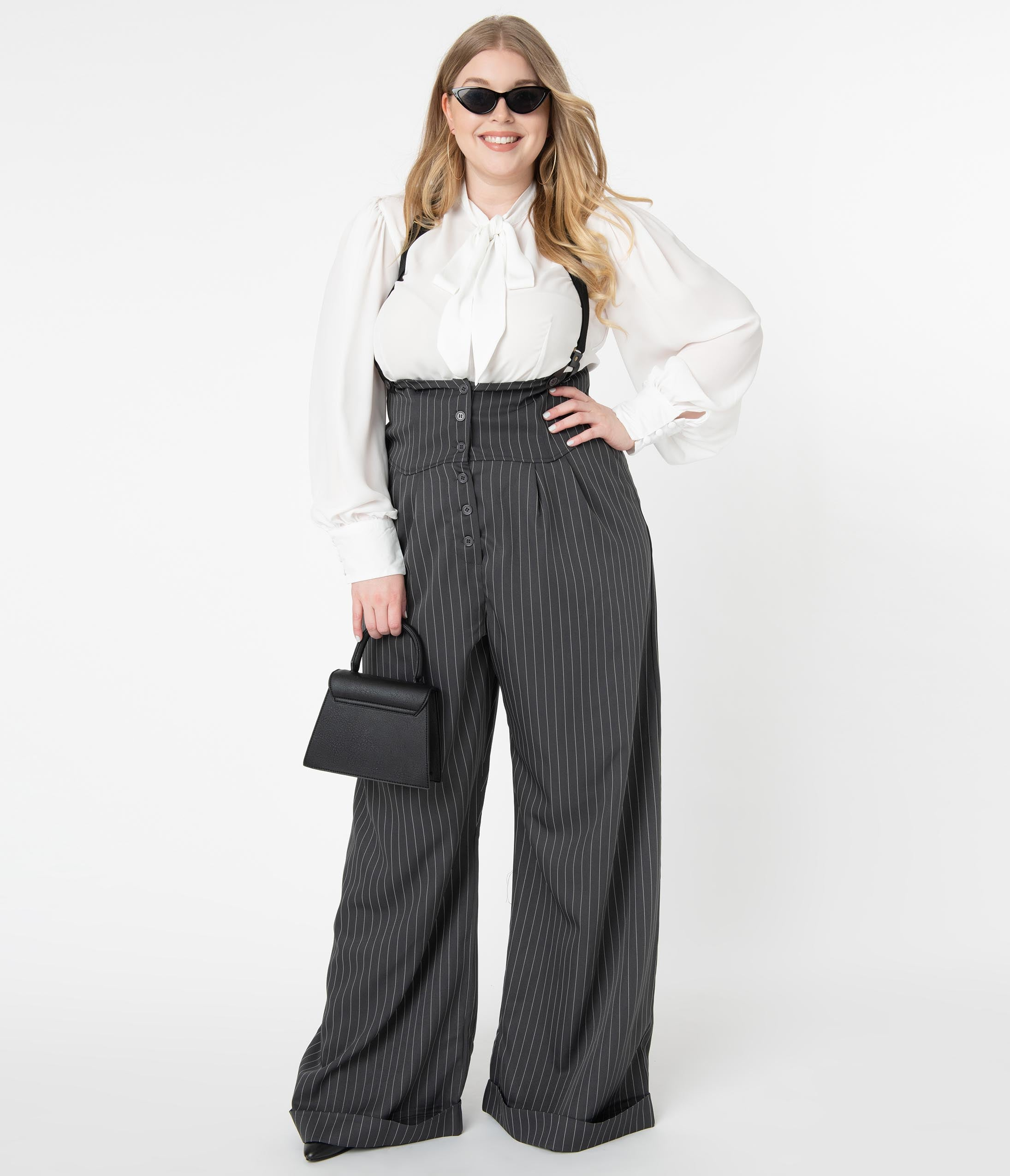 1920s Style Women's Pants, Trousers, Knickers, Tuxedo Unique Vintage Plus Size 1930S Charcoal Grey Pinstripe Thelma Suspender Pants $78.00 AT vintagedancer.com