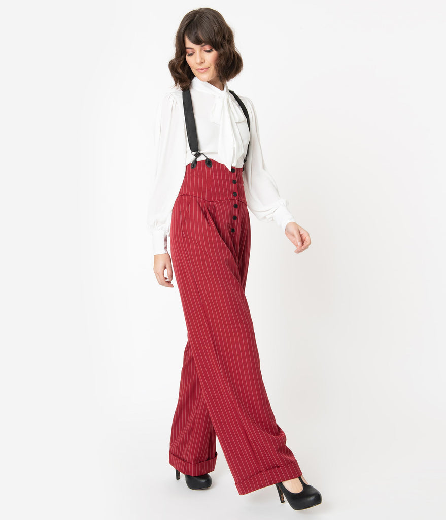 Unique Vintage 1930s Burgundy Pinstripe Thelma Suspender Pants