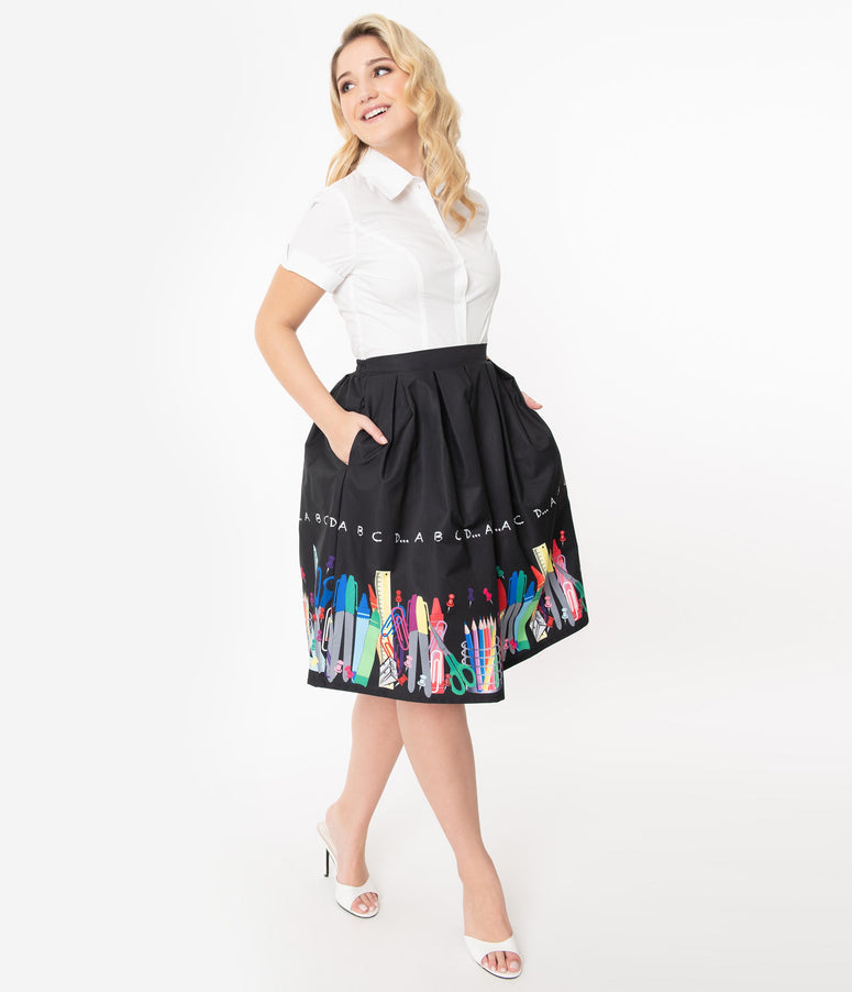 Unique Vintage Teacher Border Print Jayne Swing Skirt