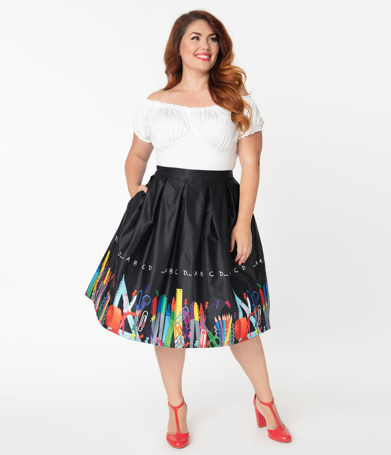 Unique Vintage Plus Size Teacher Border Print Jayne Swing Skirt