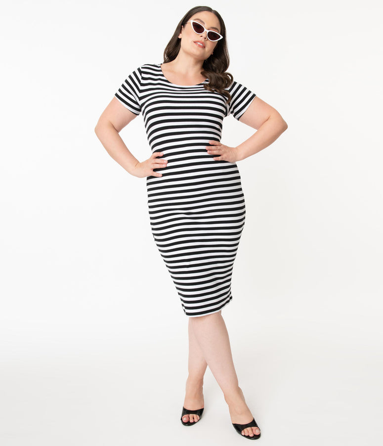 Unique Vintage Plus Size 1960s Black & White Stripe Presley Wiggle Dress