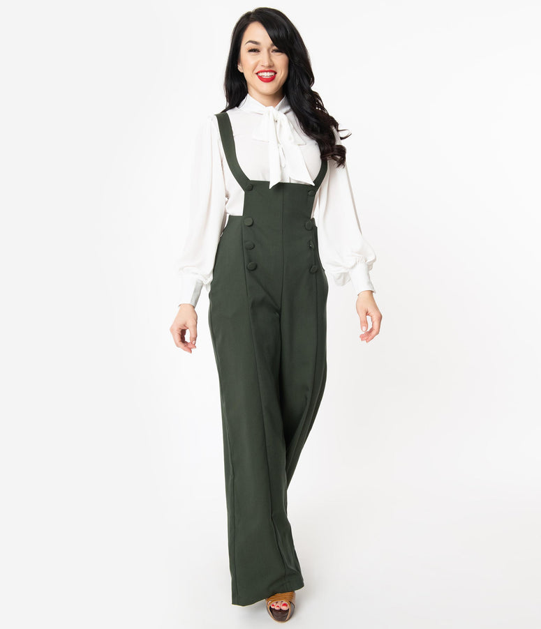 Unique Vintage 1970s Style Hunter Green Geena Pinafore Pants