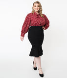 Unique Vintage Plus Size 1960s Black Fishtail Lizette Wiggle Skirt