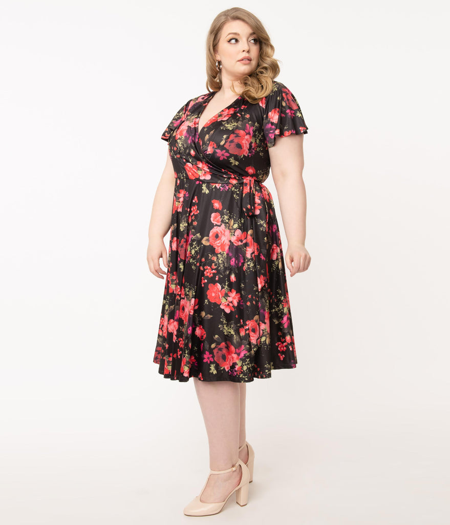 Unique Vintage Plus Size Black & Red Cabbage Rose Print Jennie Wrap Dress