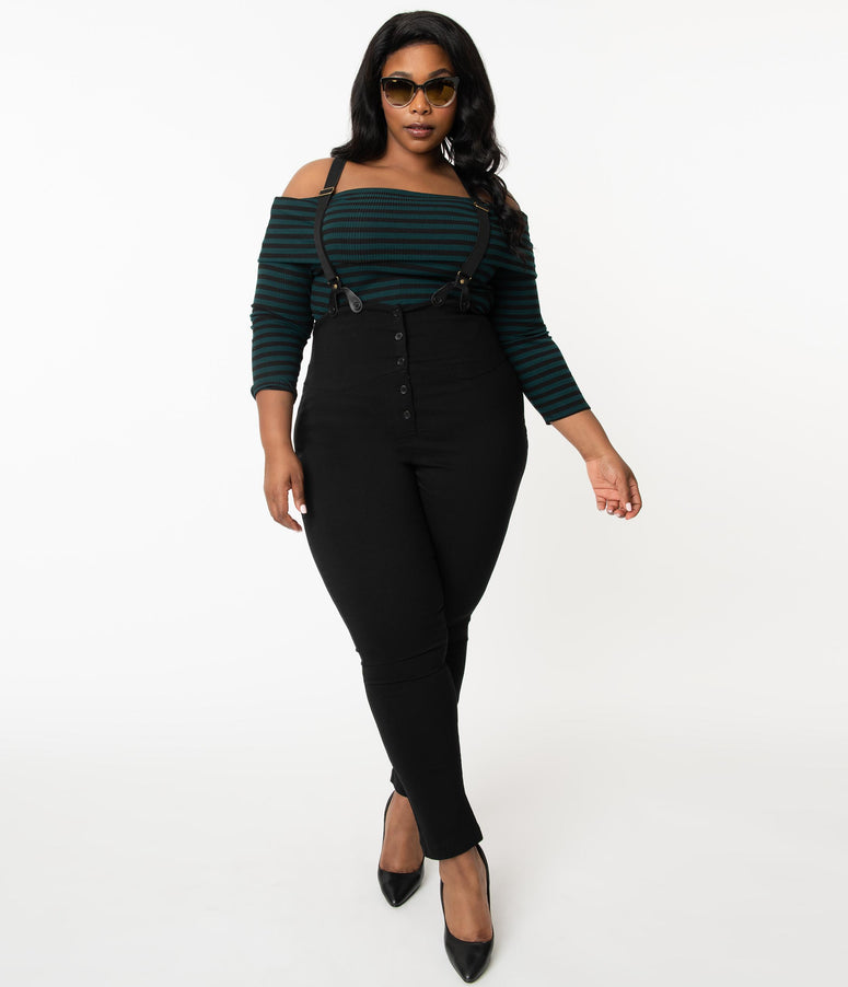 Unique Vintage Plus Size Black Moorehead Skinny Suspender Pants