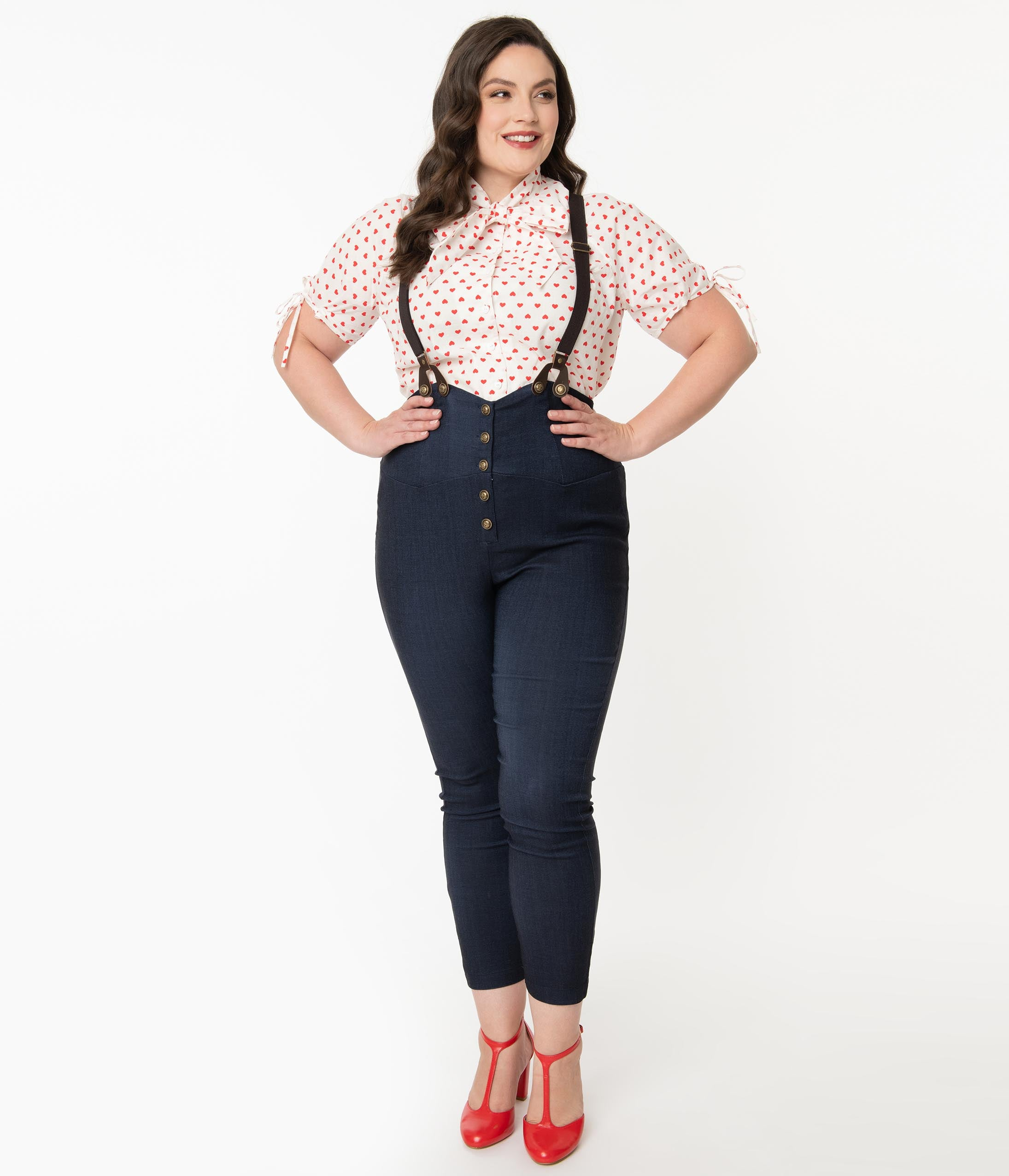 Vintage Overalls 1910s -1950s History & Shop Overalls Unique Vintage Plus Size Dark Blue Denim Moorehead Skinny Suspender Pants $68.00 AT vintagedancer.com