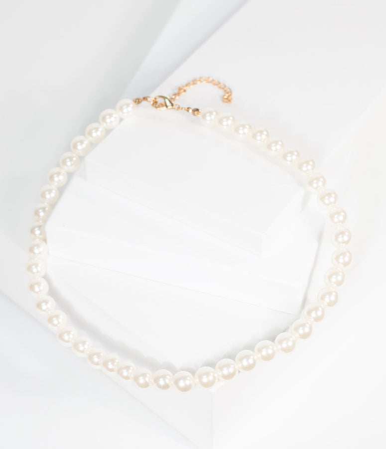 Vintage Style Ivory Pearl Single Row Necklace