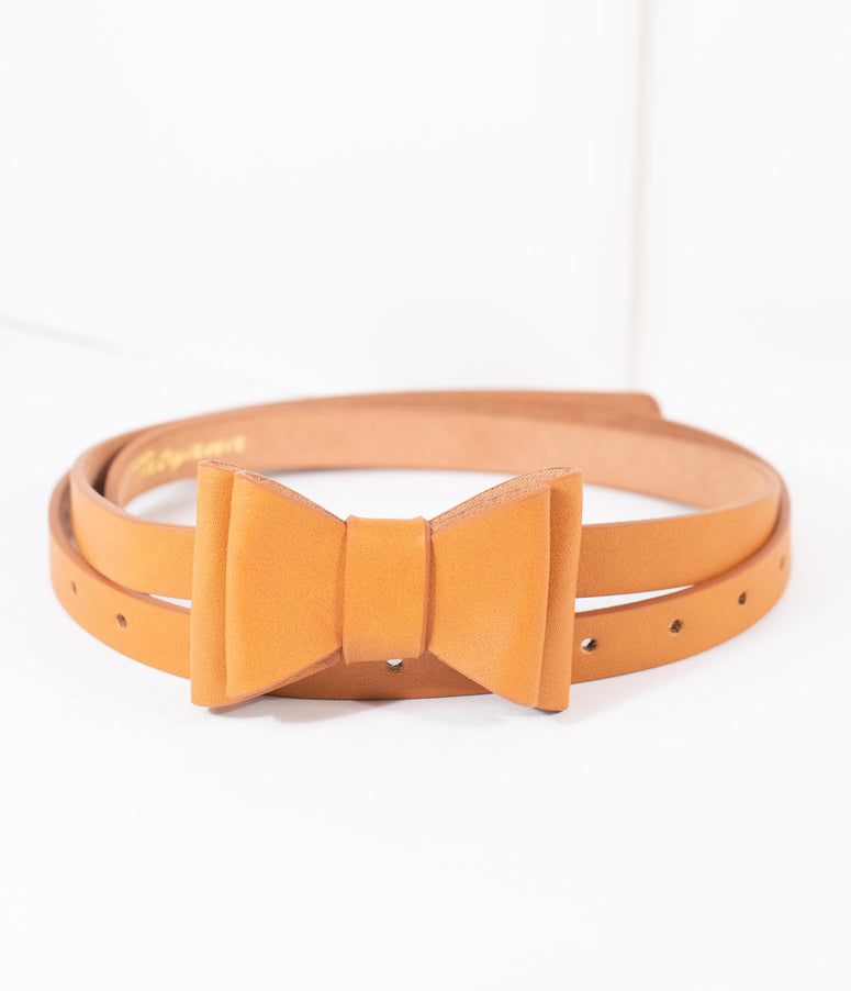 Tan Brown Leatherette Bow Snap On Belt