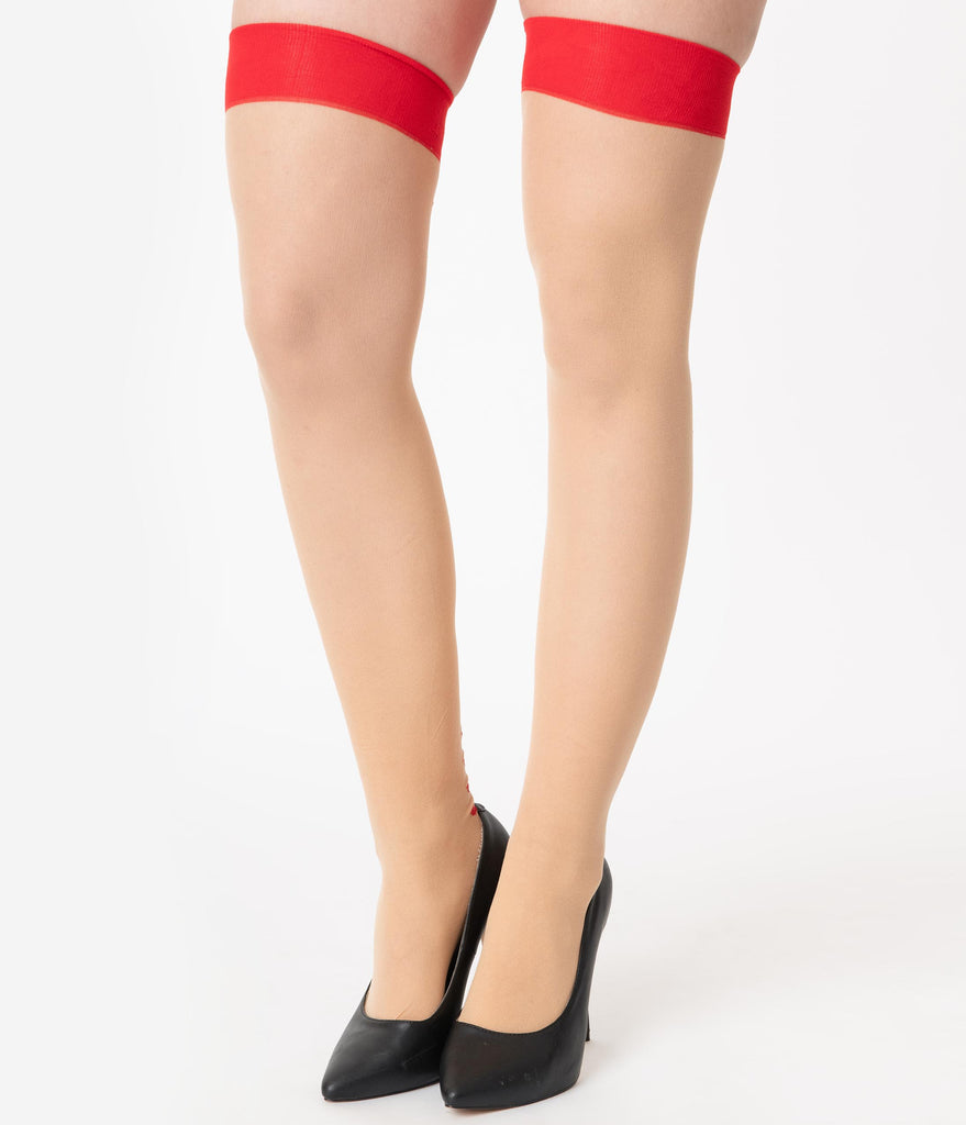 Beige & Red Lips Back Seam Thigh High Stockings