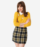 Black & Yellow Plaid Mini Skirt