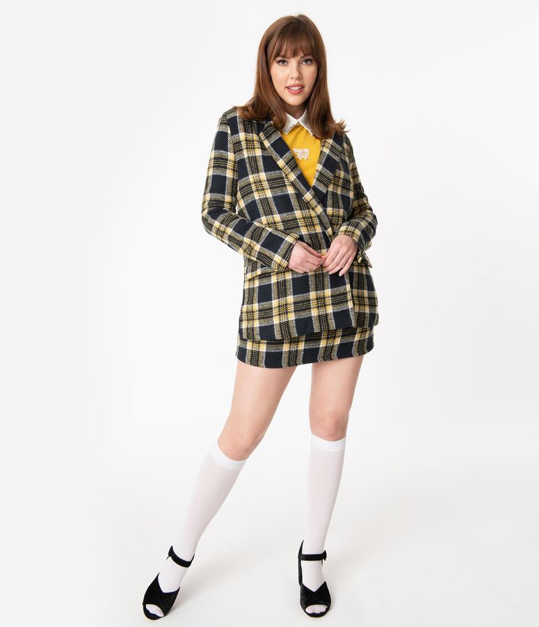 Black & Yellow Plaid Blazer