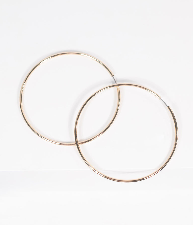 Retro Style Gold Endless Hoop Earrings