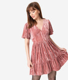 Dusty Pink Crushed Velvet Fit & Flare Dress